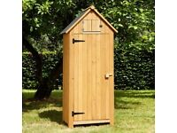 Compact wooden tool shed - natural or plum coloured
