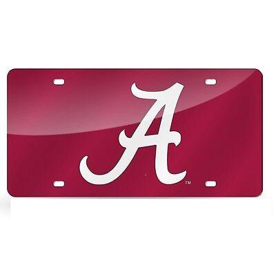 - Alabama Crimson Tide Red Mirrored Laser Cut License Plate Laser Tag