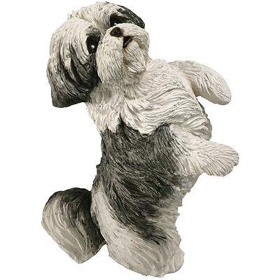 ♛ SANDICAST Dog Figurine Sculpture Shih Tzu Black Silver White