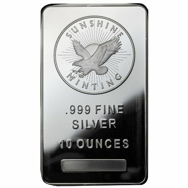 Купить 10 oz Sunshine Silver Bar (New, MintMark SI)