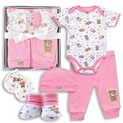 Baby girl Clothes shower gift 5 piece set 0-3 months mommy loves me bear pink