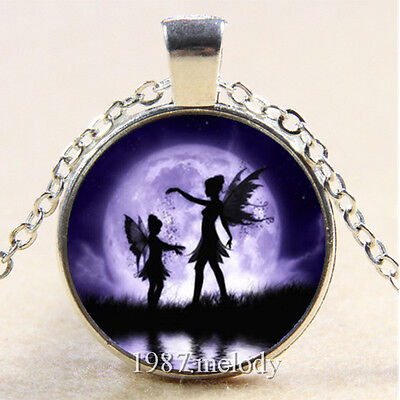 Photo Cabochon Glass Silver popular Pendants Necklace Fairy under the moon - The Moon Fairy