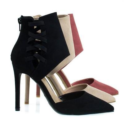 Womens Pointy Toe Pump Ankle High Cuff W Elastic Strap D'Orsay Cut Worship-37s