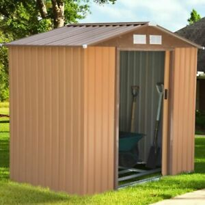7'x4' Garden Storage Shed w/ Floor Foundation /Metal Patio Shed