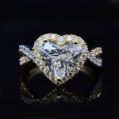 2.30 Ct  Heart Halo Diamond Twist Shank Engagement Ring H,VS2 GIA 14K W/Y Gold