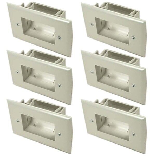 Monoprice Easy Mount Low Voltage Cable Recessed Wall Plate White Slim Fit
