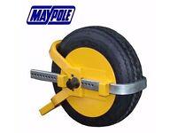 "Maypole Universal Caravan Trailer Security Strong Heavy Duty 8"" 9"" 10"" Wheel Clamp"