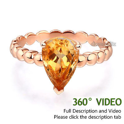 1.6 Ct Citrine Ring (14K Rose Gold Wedding Engagement Solitaire Ring 1.6 Ct Pear)