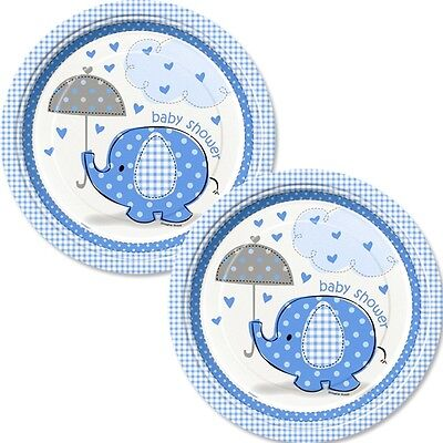 Baby Shower Elefant Teller blau, 8 Stück