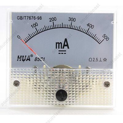 1 Dc 500ma Analog Panel Amp Current Meter Ammeter Gauge 85c1 White 0-500ma Dc