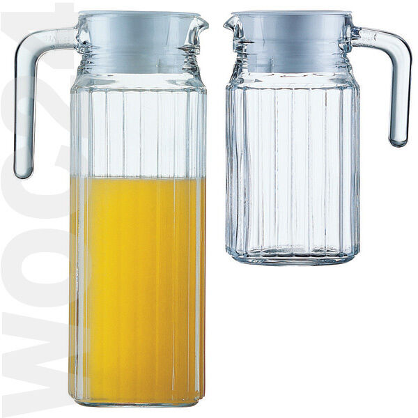 Glas Krug Glaskrug Karaffe Saftkrug Vorratsglas Kühlschrankkrug Griff Deckel