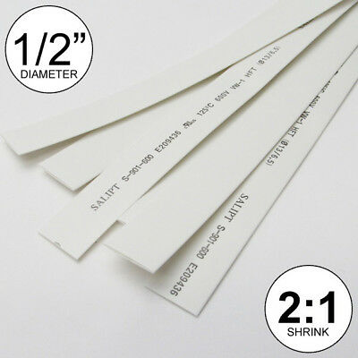 12 Id White Heat Shrink Tube 21 Ratio 0.5 Wrap 6x9 4ft Inchfeetto 13mm