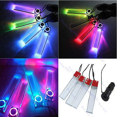 Car Charge 12V 4 in 1 LED Interior Decoration Floor Decorative Light Lamp Colors
