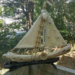 Handcrafted Driftwood Sailboat For Sale