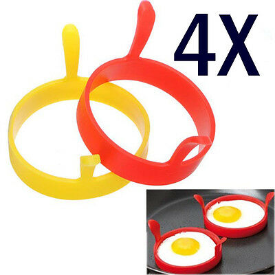 Egg Mold - Silicone Round Egg Rings Pancake Mold Ring w Handles Nonstick Fried Frying SET 4