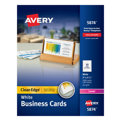 Avery Laser Clean Edge 2-side Printable Business Cards 2 X 3 12 1000-pk