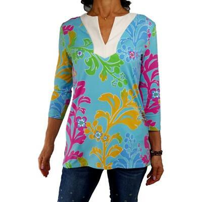 J McLAUGHLIN S aqua bright floral print Catalina Cloth tunic knit top fall for sale  Fort Myers