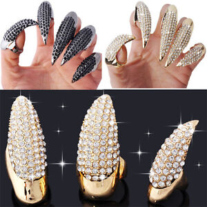 Wholesale-Lots-10X-20X-Hot-Retro-Punk-Claw-Ring-Finger-Nail-Rings-Full-Crystal