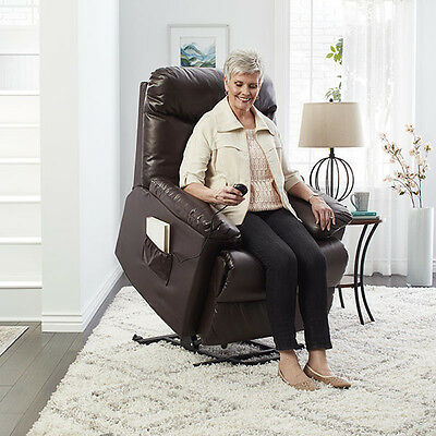 Electric Lift Recliner Power Motion Brown Leather Chair Lounge Seat Wall Hugger