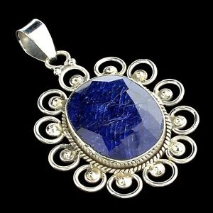 Stunning- Blue Sapphire and Sterling Silver Pendant- 18.76CT