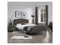 Upholstered Bed in Grey Fabric in Double/Kingsize