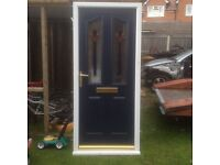 Used but mint upvc frame with composite door dark blue