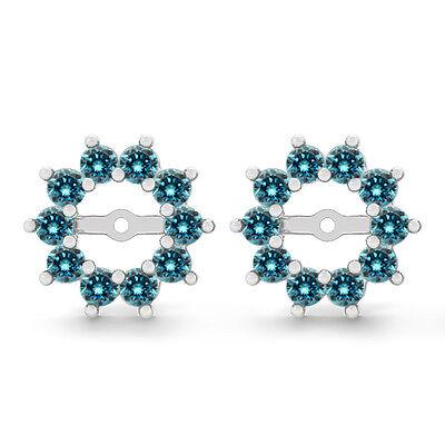 Wg 1 Carat Diamond Stud (1 Carat Blue Round Diamond Solitaire Stud Earring Jackets Halo 14K WG)