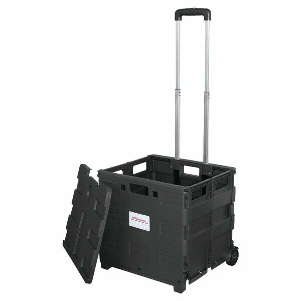 "Office Depot Brand Mobile Folding Cart With Lid, 16""H x 18""W x 15""D, Black"