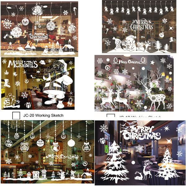 Home Decoration - Christmas Xmas Santa Removable Window Stickers Art Decal Wall Home Shop Decor