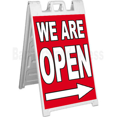 We Are Open A-frame Sign Signicade Sidewalk Pavement Banner Street Sign Rb