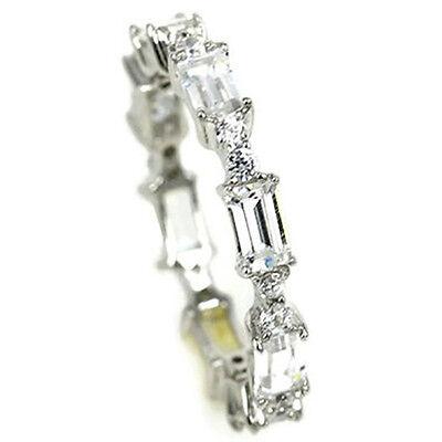 Sterling Silver Designer Baguette Ring CZ Cubic Zirconia Ban