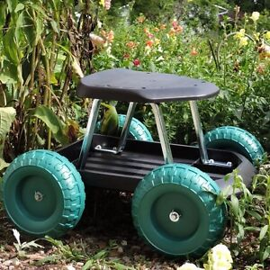 garden cart scooter rolling work tray seat chair lawn