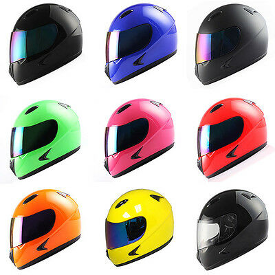 Youth Full Face Motorcycle Helmet Kids Bike Black Blue Green Orange Pink Red YLW Childrens Full Face Helmets