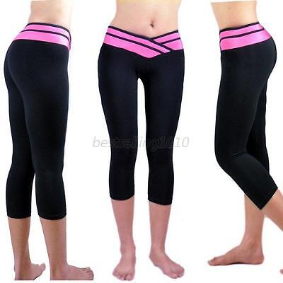Women Cropped Yoga Fitness Leggings Running Gym Stretch Sports Pants Trousers