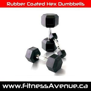 Rubber Coated Hex Dumbbell - Available sizes: 2.5 - 115lbs
