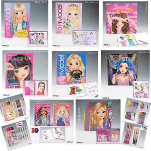 Top-Model-Colouring-Sticker-Books-Fashion-Designer-Books-Pens-Large-Range