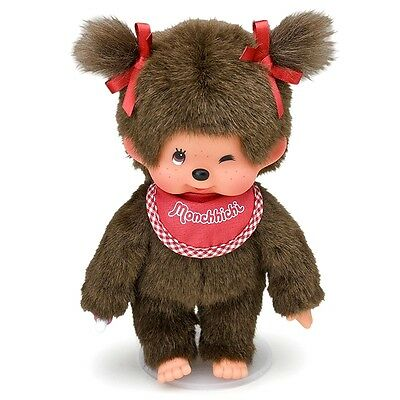 "Original Sekiguchi 8"" tall girl Monchhichi Doll with red bib, a Monchichi monkey"