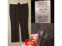 **M&S UK18 Long Grey Trousers** Good Condition