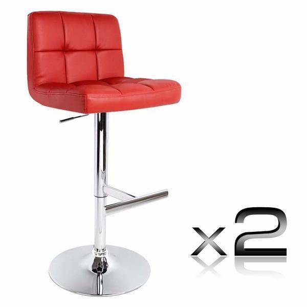 new set of 2 red pu leather kitchen bar stool  stools