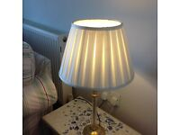 Laura Ashley glass and brass candlestick lamp base and cream shade