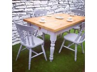 Farmhouse Table & Chairs Hand Painted FREE DELIVERY (in Cardiff) Upcycled Shabby Chic Vintage