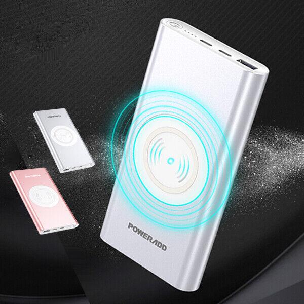 Poweradd Qi Wireless Power Bank 10000mAh Portable Charger US