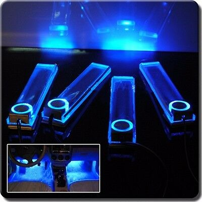 Atmosphere Blue Car 12V 4 in 1 LED Interior Floor Dash Decorative Light Lamp UK
