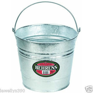 Behrens Galvanized Metal 14 Qt Water Bucket Pail Tub 14 Quart