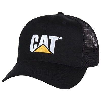 Black Caterpillar CAT Equipment Trucker Twill Mesh Diesel Cap Hat Cap