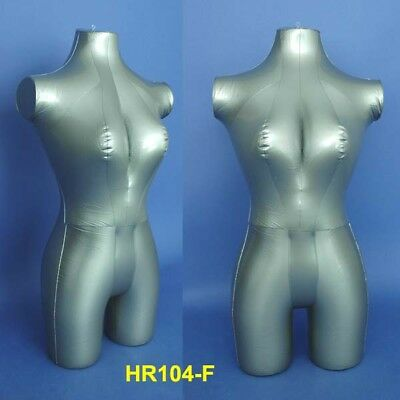 New Silver Female Inflatable 34 Torso Mannequin Hr104-f