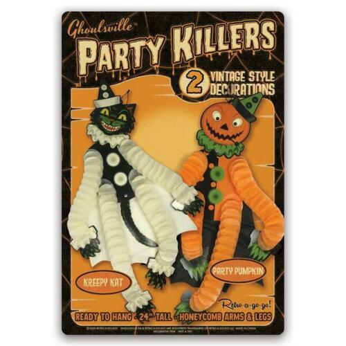 "Halloween Black Cat Jack O Lantern 24"" Paper Party Killers Decorations Set of 2"