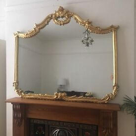 Guilded Rococo vintage look Gold Leaf mantle mirror