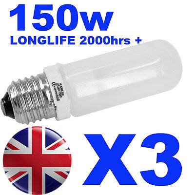 3x Halogen Long Life Modelling Bulb / Lamp / Light 150w for Bowens / Elinchrom