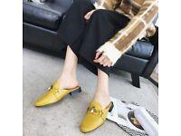 UK Size 5 Mustard Vintage Trendy Round Toe Slippers
